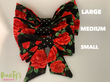 Load image into Gallery viewer, Dog Bows, doggy sailor bows, red and black dog bow