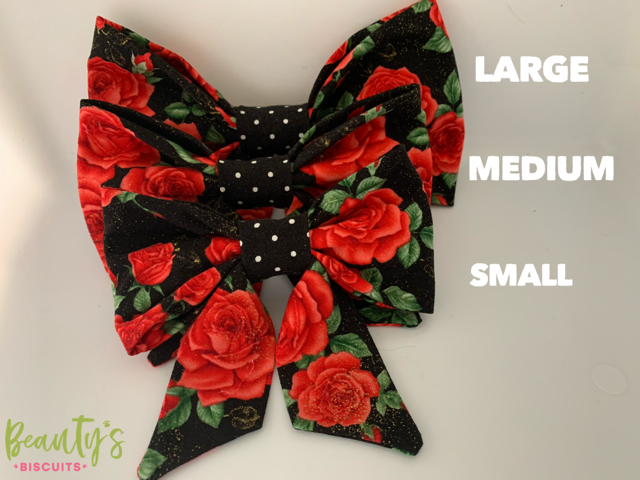 Dog Bows, doggy sailor bows, red and black dog bow