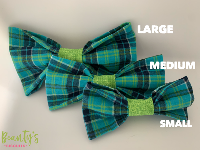 Teal & Green Plaid Dog Bowtie w/ Velcro Clasps