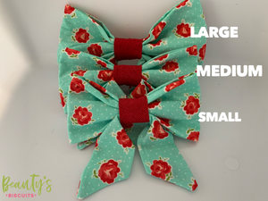 Teal and Red Sailor Dog Bows