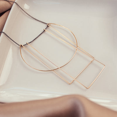 Antonia Gold-filled Square Round Necklace
