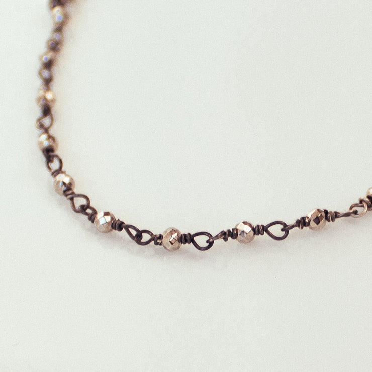 Sterling Silver, Antiqued Black Silver Beads Necklace