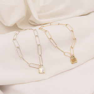 Oblong Gold Lock Bracelet