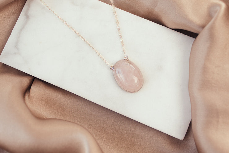 Rose Quartz Love Necklace - Sterling Silver