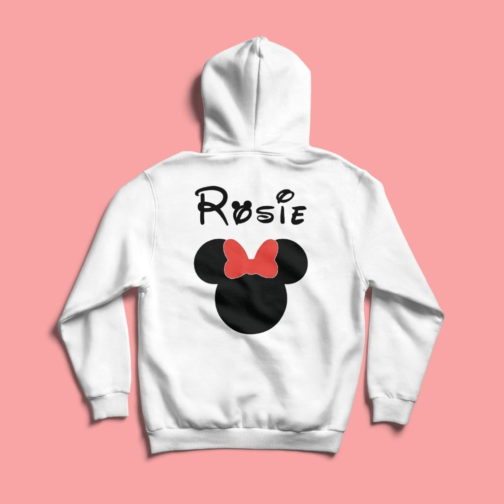 White Minnie/ Mickey Zip Up Hoodie - We're All Ears Boutique