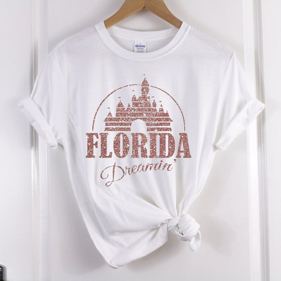 RTS - Florida Dreaming Dark Grey Tshirt with White Text - We're All Ears Boutique