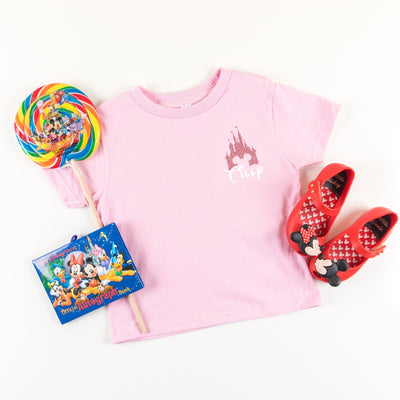 RTS - Kids Bright Pink Glitter Castle Tshirt (No Name) - We're All Ears Boutique