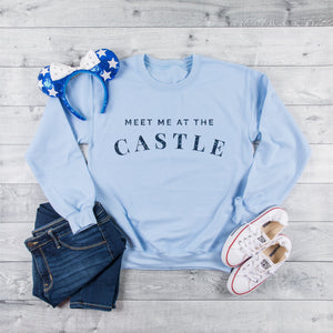 Meet Me At The Castle Light Blue Sweatshirt with Glitter - We're All Ears Boutique