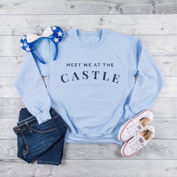 RTS - Meet Me At The Castle Light Blue Sweatshirt in Blue Glitter Text - We're All Ears Boutique