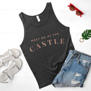 RTS - White Meet Me At The Castle Vest with Rose Gold Glitter Text - We're All Ears Boutique