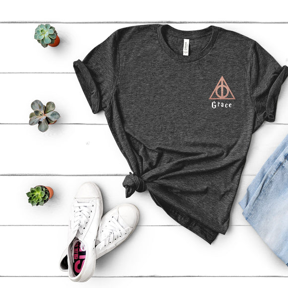 Adults Deathly Hallows Personalised Harry Potter Inspired Tshirt