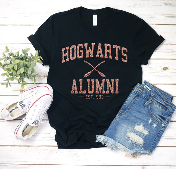 RTS - Hogwarts Alumni Black Tshirt in Gold Glitter - We're All Ears Boutique