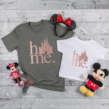 """Home"" Disney Castle Tshirt with Rose Gold - We're All Ears Boutique"