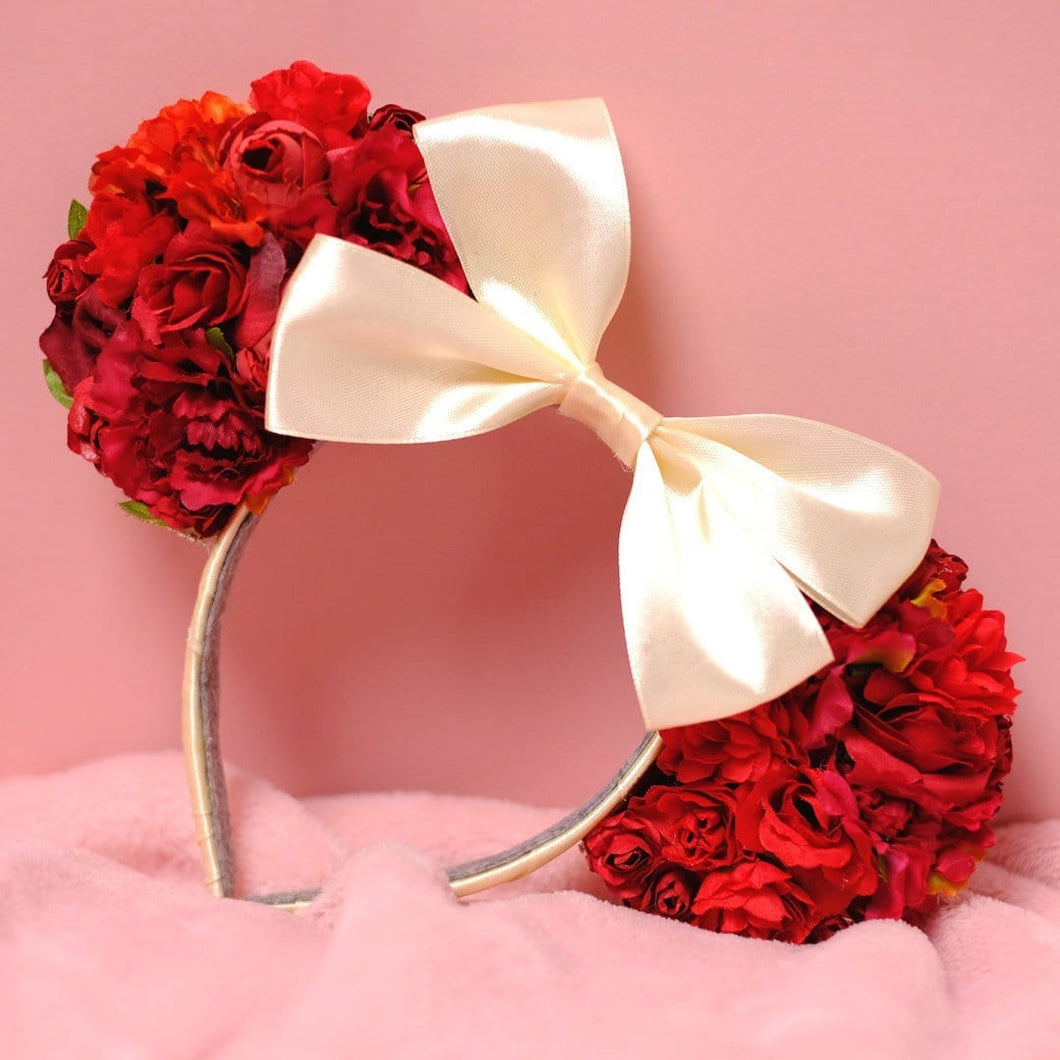 Red Floral Mouse Ears - We're All Ears Boutique