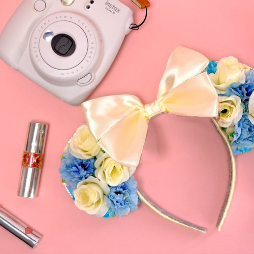 Blue & White Floral Mouse Ears - We're All Ears Boutique