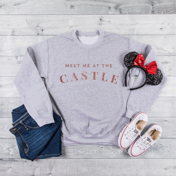 Meet Me At The Castle Sweatshirt with Glitter (Pick Your Own Colours) - We're All Ears Boutique