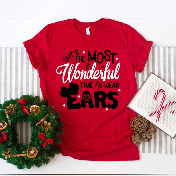 It's The Most Wonderful Time To Wear Ears Tshirt | Christmas - We're All Ears Boutique