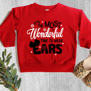 "Children's ""Most Wonderful Time To Wear Ears"" Christmas Sweatshirt - We're All Ears Boutique"