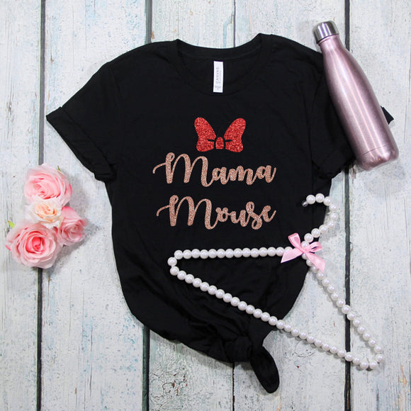 Mama Mouse Glitter Tshirt - We're All Ears Boutique