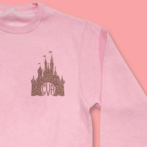 Glitter Monogram Disney Castle Pink Sweatshirt - We're All Ears Boutique