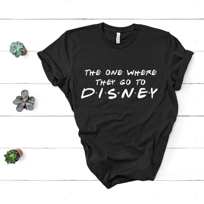 RTS - The One Where They Go Disney Light Blue Tshirt with White Text - We're All Ears Boutique