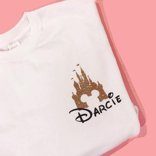 Glitter Disney Castle White Sweatshirt - We're All Ears Boutique