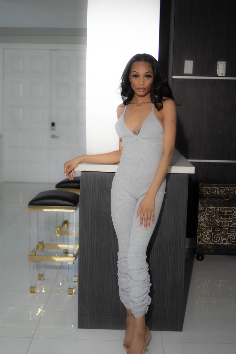 Melli Grey Stacked Jumpsuit - Nomi Armoire