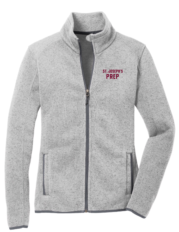 Ladies Grey Fleece Zip