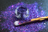 This glitter is called Love Spell and is part of the super chunky glitter collection. It consists of deep purple and violet glitter with a holographic sparkle. Love Spell can be used for your face, body, hair and nails. Comes in 5g jars only.