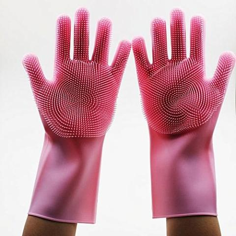 Magic Washing Gloves, Reusable Silicon Dishwashing Gloves  with Scrubbers for Kitchen, Bathroom Cleaning