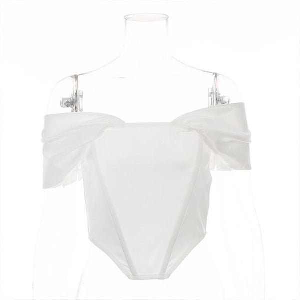 Glamaker Off shoulder white sexy crop top women 2020 summer corset tank top elegant vintage fashion cami femle shirt short top