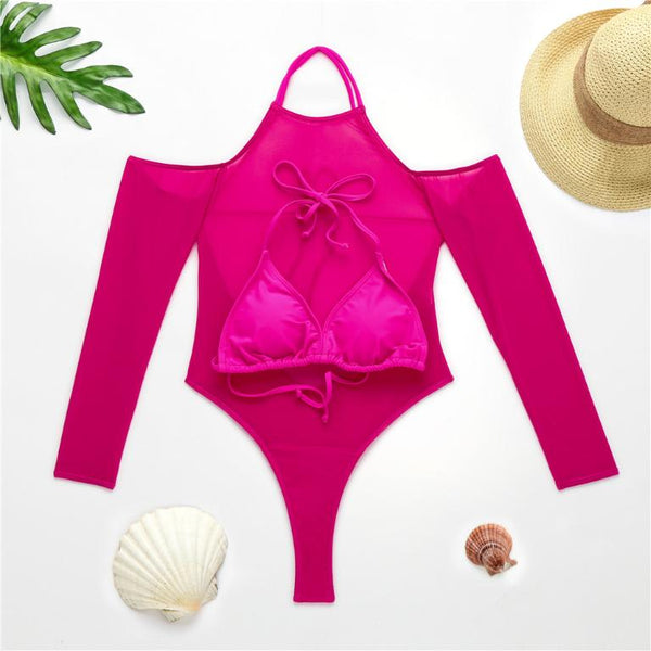 See through bikini set Sexy swimsuit women Halter swimwear female Strapless bathing suit Long sleeves two piece suit 2020 new