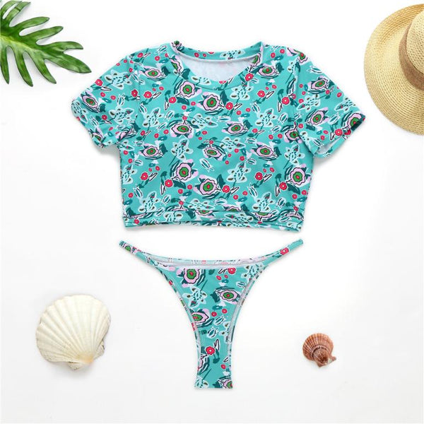 Floral print bikinis 2020 mujer Sexy bikini High cut swimsuit women O-neck swimwear female T-short bathing suit biquini summer