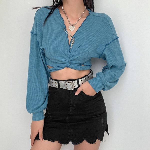 Blue ruffle long sleeve blouse shirt women fashion sexy v neck crop tops Streetwear 2020 vintage female summer blouse