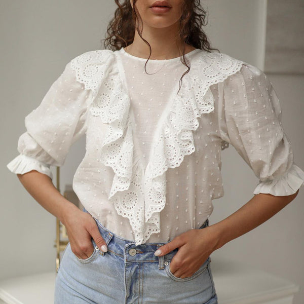 Sexy hollow out embroidery women tops Puff half sleeve autumn holiday wear blouse Ruffled chic white blouse lace 2020