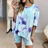 Casual crew neck womens tie-dye sets Sleepwear loose sportswear household clothing summer Mid sleeve ladies suits 2020