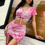 Tie-dye pink sexy dress vintage Women drawstring short sleeve crop summer dress Streetwear pleated v neck mini dress