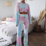 Two piece tie-dye set sexy jumpsuit women crop summer fitness long sleeve jumpsuit romper 2020 female playsuit overalls