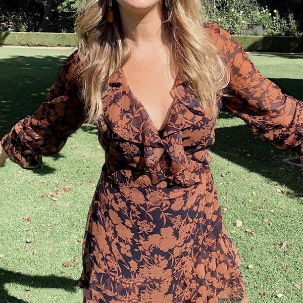 Simplee Women Sexy V-neck long Sleeve midi Dresses Summer holiday Chiffon Ruched Floral Print solid lace dress Vestidos 2020