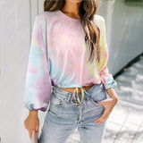 Basic Hoodies Women Sexy Long Sleeve Hoodie Streetwear Tie Dye Color Sweatshirt Hip Pop Tops Loose Short Shirt Pullover