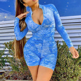 Deep v neck bodycon jumpsuit romper Women Tie-dye blue summer long sleeve jumpsuit Sexy fitness sport playsuit overalls