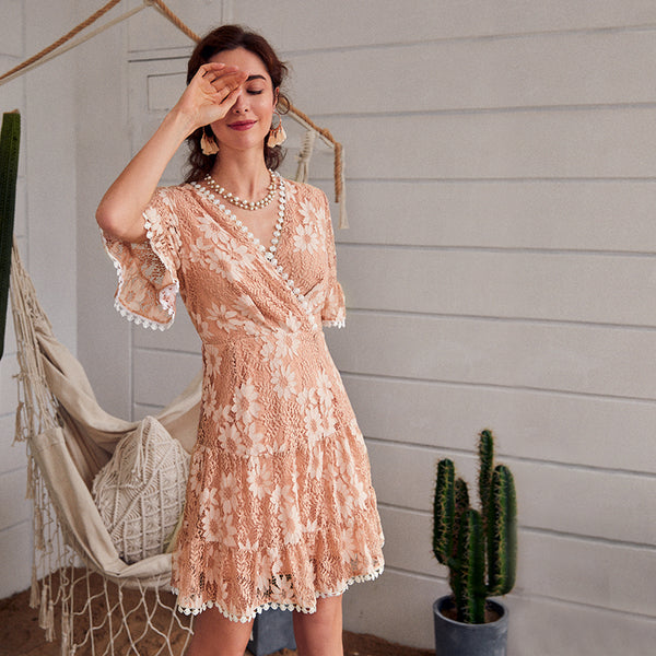 Women v neck print dress autumn winter ruffled sleeve solid pink midi dress Holiday ladies chic party dress vestidos 2020