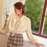 Casual solid Apricot long sleeve women blouse shirt autumn neck tie blouses shirt Elegant work wear loose female tops 20