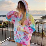 Casual long sleeve hoodie sweatshirt women autumn tie dye hoodie fashion 2020 loose rainbow hoodie Female sweatshirt