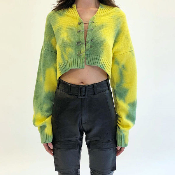 Glamaker Green Camouflage pin knitted cardigan Autumn winter casual loose new sweaters Female ladies sweater crop top 2020
