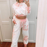 Womens clothing co ord set casual summer long sleeve outfits suit sets pink tie dye crop top 2 piece set top and pants