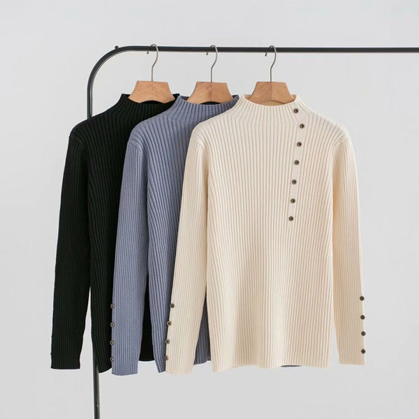 Casual 11 colour long sleeve button female sweater Autumn o-neck women knitted jumper Fashion fitted lady pullover 2020
