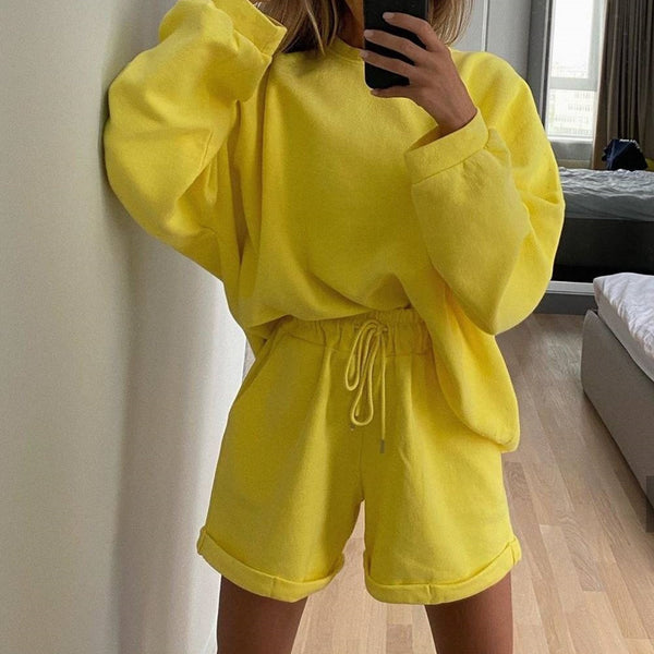 Simplee Solid color loose women's two piece Casual long sleeve lace up women's suit Home casual sports suit autumn winter 2020