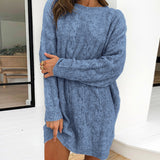 Causal blue autumn winter women knitted dress Elegant o-neck long sleeves straight dress Fashion basic sweater dress US $28.59US $47.65-40%