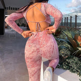 Glamaker Pink backless tie-dye suit sets women long sleeve crop top and pants 2 piece set sexy femele club outfits co ord set